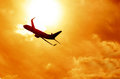 Airplane Silhouette On Sunset Background Royalty Free Stock Photos - 30230958