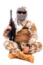 Soldier In Camouflage And Arabian Scarf Holding A Rifle Stock Photos - 30242733