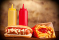 Fresh And Tasty Hot Dog With Fried Potatoes Stock Photos - 30248163
