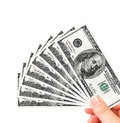 Hand Holding One Hundred Dollars Stock Photos - 30260443