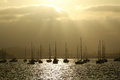 Sail Boats Silhouette In San Diego Royalty Free Stock Photography - 30285297