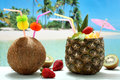 Summer Cocktails Coconut And Pineapple On The Beach Royalty Free Stock Photography - 30288117