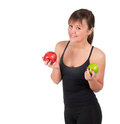 Beautiful Young Sport  Woman With Red And Green Apple, Isolated On White Royalty Free Stock Images - 30290929