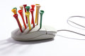 Golf Tees On Computer Mouse Royalty Free Stock Image - 30305566
