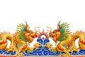 Twin Golden Dragon Statues In Chinese Style Stock Photos - 30313533