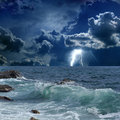 Stormy Sea, Lightnings Royalty Free Stock Images - 30322549