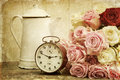 Vintage Textured Still Life With Roses And Alarm Clock Royalty Free Stock Photos - 30327138