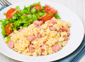 Scrambled Eggs With Ham And Salad Royalty Free Stock Image - 30335276
