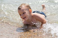 Cute Little Boy Learning To Swim Royalty Free Stock Photo - 30339125