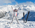 Cheerful Skier On The Top Of Mountain Pirin Stock Image - 30340101