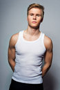 Young Handsome Blond Man Wearing T-shirt Stock Image - 30345551