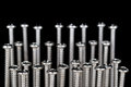 Studio Shot Of Standing Group Of Silver Screws Stock Photography - 30351082