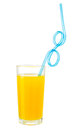 Orange Juice With Drink Straw In Glass Isolated W Clipping Path Stock Images - 30354674