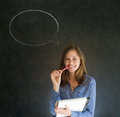 Woman With Chalk Speech Bubble Talk Talking Royalty Free Stock Images - 30375839