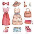 Watercolor Dresses And Accessories Stock Photos - 30376353