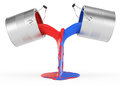 Pouring Red And Blue Paint Stock Photos - 30396163