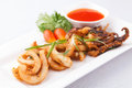 Fried Octopus With Chili Sauce Stock Photos - 30409973