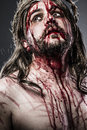 Jesus Christ With Crown Of Thorns White On The Cross, Easter In Stock Images - 30428694