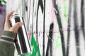 Human Hand Holding A Graffiti Spray Can Stock Photography - 30444612