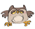 Cartoon Brown Baby Owl In A Naif Childish Drawing Style Royalty Free Stock Photo - 30456035