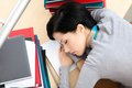 Attractive Female Sleeping At The Desk Royalty Free Stock Photo - 30457565