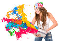 Woman Splashing Colorful Paint Royalty Free Stock Image - 30471116