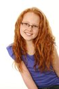 Redhead Girl With Freckles And Glasses Royalty Free Stock Image - 30475116