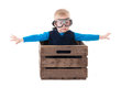 Young Boy Pilot Flying A Wood Box Royalty Free Stock Photos - 30475318