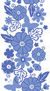 Delft Blue Dutch Flowers Vertical Seamless Pattern Stock Image - 30476881
