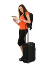 A Beautiful Woman Tourist With A Map In Hand Luggage Isolated On Stock Photography - 30483602