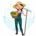Woman Working In The Vegetable Garden Stock Images - 30487684