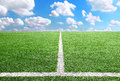 Football And Soccer Field Grass Stadium Blue Sky Background Stock Photography - 30498922