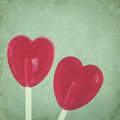 Red Lollipop Hearts On Vintage Background Stock Photos - 30507903