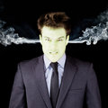 Furious Businessman Getting Green Face Royalty Free Stock Images - 30510939