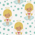 Angel Girl Floral Seamless Wallpaper Royalty Free Stock Image - 30517066