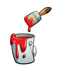 Cartoon Red Color Paint In A Paint Bucket Painting With Paint Br Stock Photography - 30519742