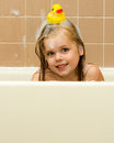 Rubber Ducky On Her Head Stock Photography - 30524832