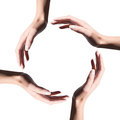 Icon Of Recycle Symbol Made with Hands Of Woman Royalty Free Stock Images - 30525199