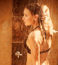 Girl Taking Shower Outdoor Stock Image - 30530161