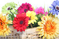 Bright Summer Flowers In A Basket Royalty Free Stock Image - 30551726