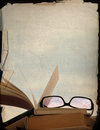 Rose-coloured Spectacles And Old Books Royalty Free Stock Photo - 30555755