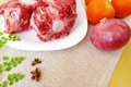 Oxtail Raw & Vegetables Stock Photography - 30567872