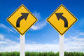Road Signs,  Right Or Left Curve On Sky Background. (Clipping Pa Royalty Free Stock Photography - 30591567