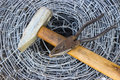 Barbed Wire, A Hammer And Pliers Royalty Free Stock Image - 30605436