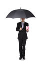 Business Man With An Umbrella And Piggy Bank Stock Images - 30609534