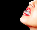 Closeup Of Red Lips Whit An Ice Cube Royalty Free Stock Photography - 30609967