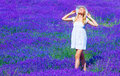 Cute Girl Enjoy Lavender Meadow Stock Photo - 30630170