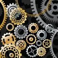 Gold And Silver Gears On Black Background Stock Images - 30631444