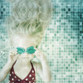 Little Girl Swimming Underwater In Swimming Pool Stock Image - 30641011