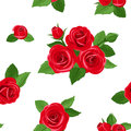 Vector Seamless Pattern With Red Roses. Royalty Free Stock Photos - 30644358